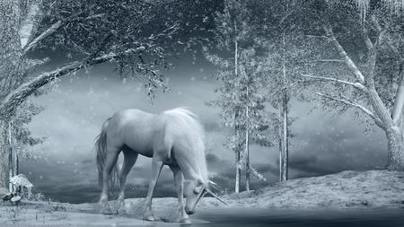 Winter scene with unicorn, creek and trees