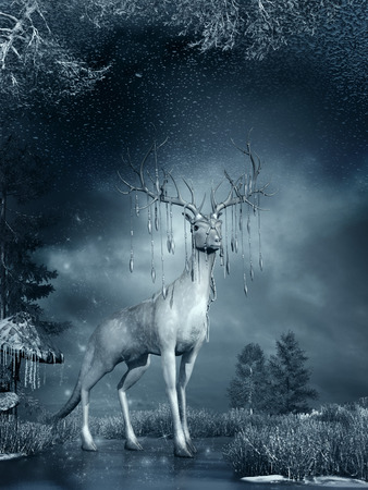 Night winter scene with magic deer, frozen grass and ice Фото со стока