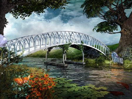 Fairytale scene with bridge, river and magic deer Stok Fotoğraf