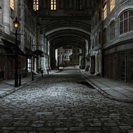 오래 된 도시 buidings와 랜 턴과 밤 풍경