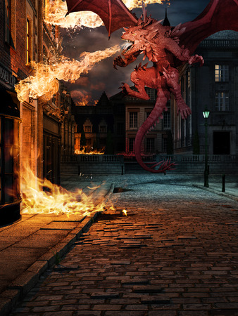 Scene with red dragon and blazing buiding on the street of old town Фото со стока