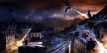 3 つの青いドラゴンと旧市街とのシーン