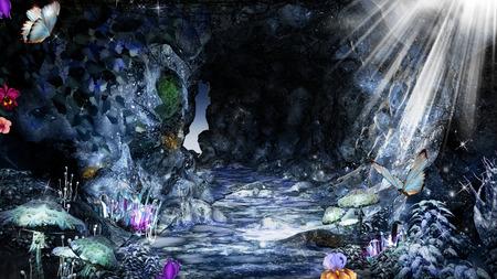 크리스탈, 버섯, 나비가있는 매직 동굴 스톡 콘텐츠
