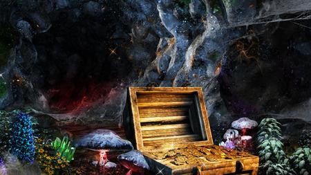 宝箱、マッシュルーム結晶とカラフルなシーン