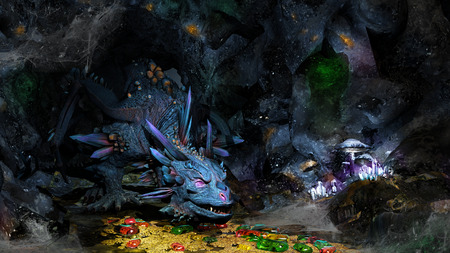 Cave with dragon, jewels and golden coins