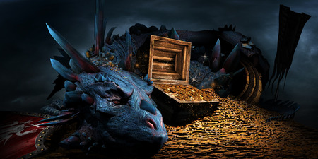 Fantasy scene with blue dragon, treasure chest and pile of golden coins