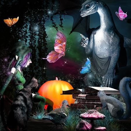 ドラゴン、gnome 蝶とおとぎ話のシーン
