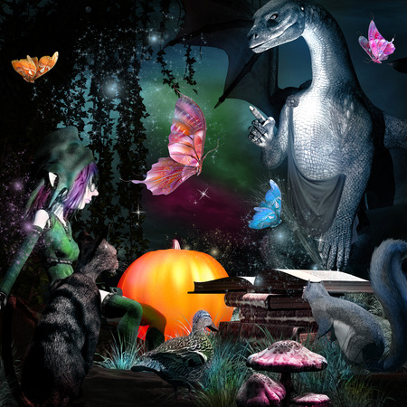 Fairytale scene with dragon, gnome and butterflies