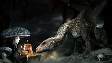 Fantasy scene with dragon, gnome and treasure chest Stock Photo