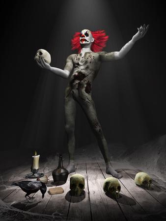 ピエロ、頭蓋骨とレイヴンの怖いシーン 写真素材