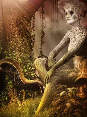 空想の生き物とキノコの秋の風景 写真素材