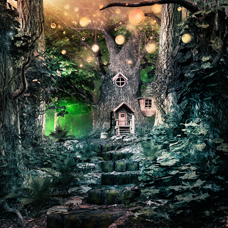 Fairytale scene with magic tree and gold glowing spheres