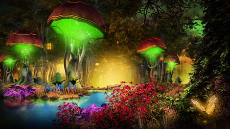 Fairytale scenery with trees and fantasy plants Zdjęcie Seryjne