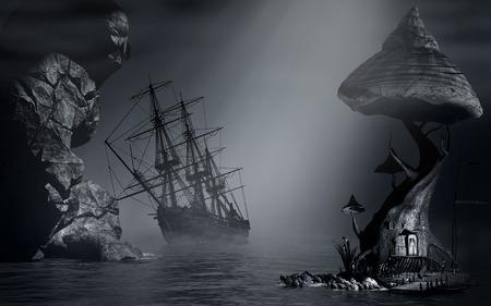 Night scenery with fog, shipwreck and fantasy house Zdjęcie Seryjne