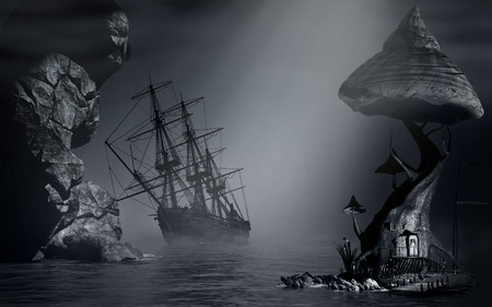 Night scenery with fog, shipwreck and fantasy house Фото со стока