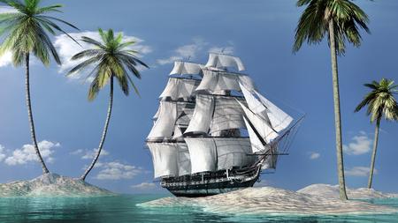 船や手のひらで晴れた風景
