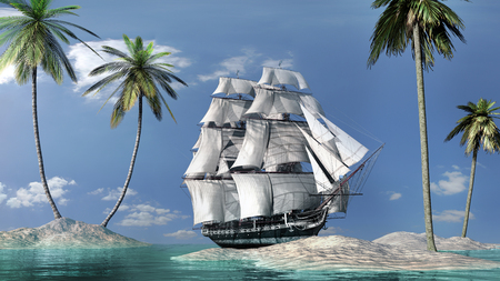 Sunny landscape with ship and palms