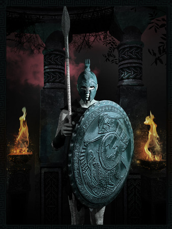槍と盾を持ったギリシャの古代戦士の肖像画 写真素材