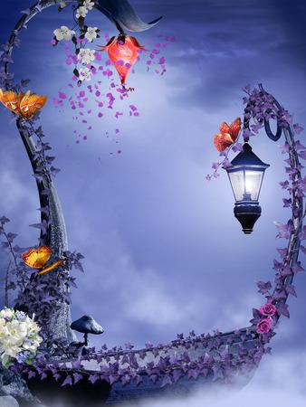 Fairytale scene with boat, flowers and butterflies Foto de archivo