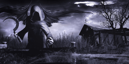 グリムリーパーと古い小屋とゴシック風景 写真素材