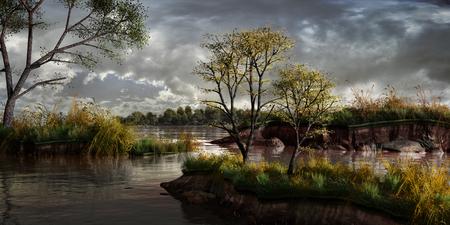 川と木々の秋の風景
