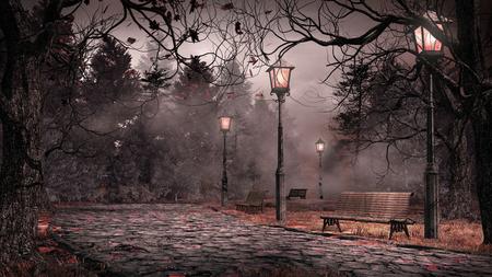 木々、提灯、落ち葉のある秋の風景