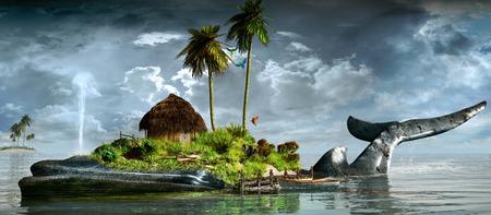 Tropical landscape with ocean, whale and island Foto de archivo