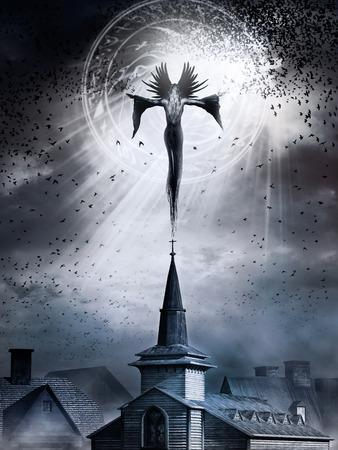 教会、魔女と鳥とゴシック風景 写真素材