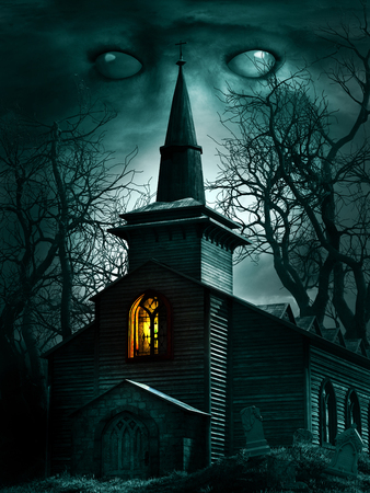 Night scene with old wooden church , trees and tombstones Фото со стока