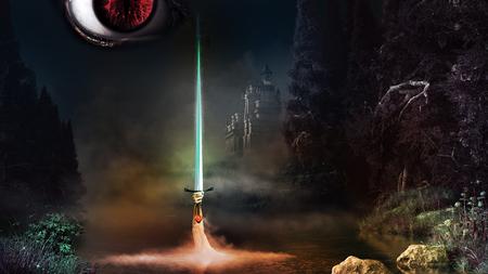 Fantasy scenery with magic sword, evil eye and castle Stockfoto