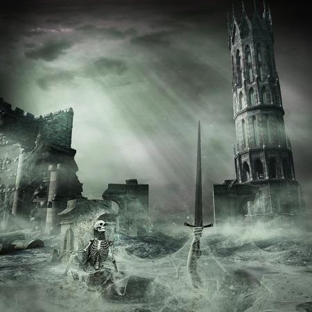 遺跡や骨格のある暗い風景 写真素材