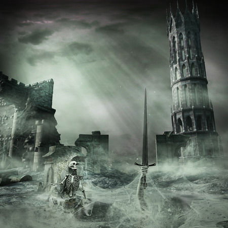 Gloomy scenery with ruins and skeleton Stockfoto