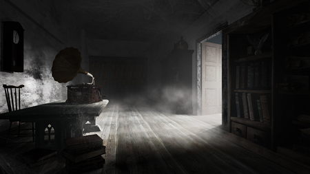 Dusty library with table and wall clock Фото со стока