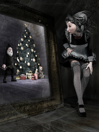 Gothic scene with young woman and magic mirror