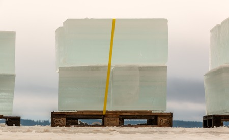 Large ice tiles severed for ice sculpting in Finland