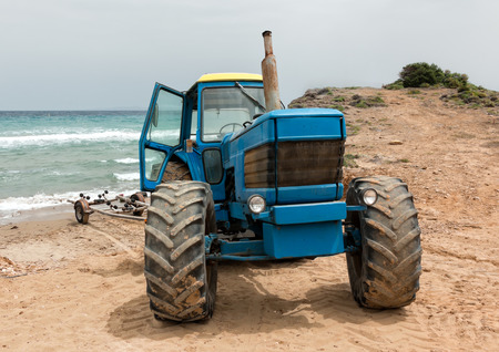 boat trailer: Tractor with a boat trailer at a beach in Zakynthos, Greece