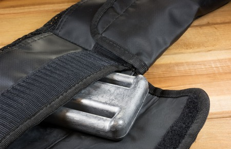 velcro: Diving weight belt with velcro pockets for lead weights, Stock Photo