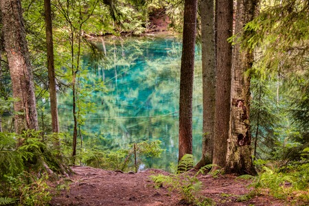 groundwater: HDR photo of a clear turquoise spring lake in a Nordic forest in Finland.