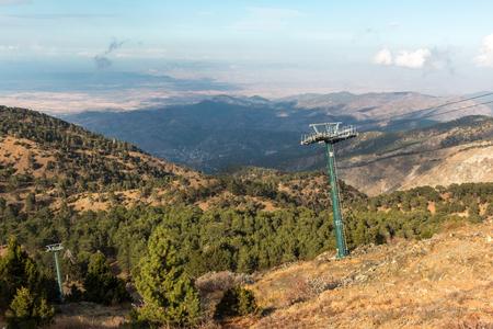 Ski lift poles at the ski center of Mount Olympus, Cyprus Stock Photo