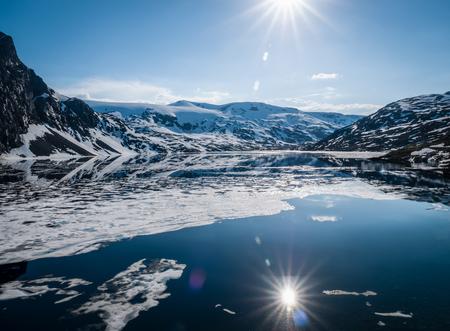 Melting ice cover of glacier lake Stok Fotoğraf