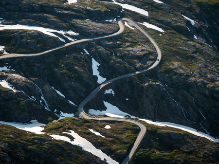 Curvy mountain road in Norway