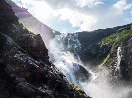 Waterfall in sunlight Stock Photo