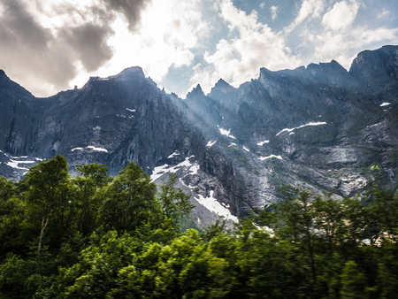 Mountains with motion blur