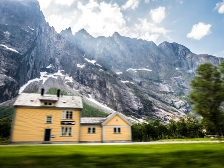 Wooden train station in mountain landscape Stock Photo