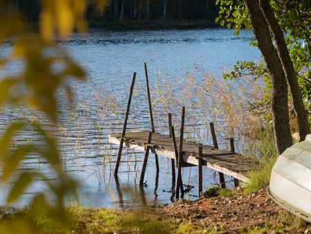 Wooden dock at lake