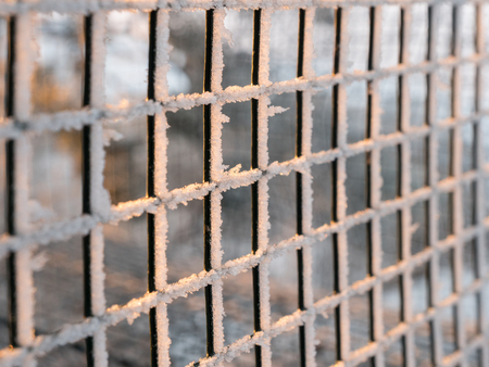 Frosty iron net fencing
