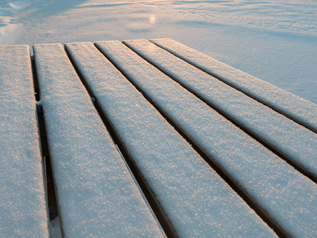 White snowy board dock in winter