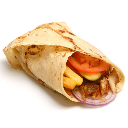 donner: Kebab - traditional turkish food isolated on white