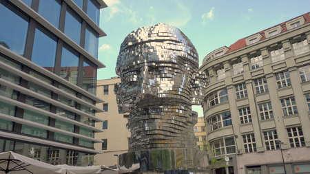 Prague, Czech Republic - May 2017: Statue Metalmorphosis by Czech sculptor David Cerny. Long shot