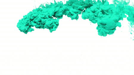 Turquoise ink spreading in water from top to bottom of screen. Fantastic video asset for animated projects or visual effects composites. Use for backgrounds or overlays requiring a stylish and flowing look.